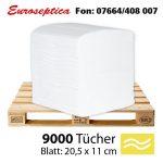 Einzelblätter Toilettenpapier, palettenweise, Zellstoff, 2-lagig, 9000 Blatt